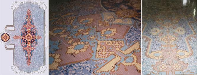 Piscine en mosaique, motif de tapis , palais Nadd al Shibba à Abu Dhabi, 2x2 cm grès cérame, 21m de longueur 500 m2