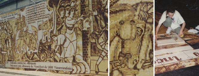 Sol en mosaïque de grès cérame incrusté d'or, thême Art nouveau, Megève, 35 m2