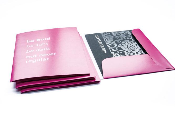 Präsentationsmappen für Ihre Unterlagen. Handgefalzt.