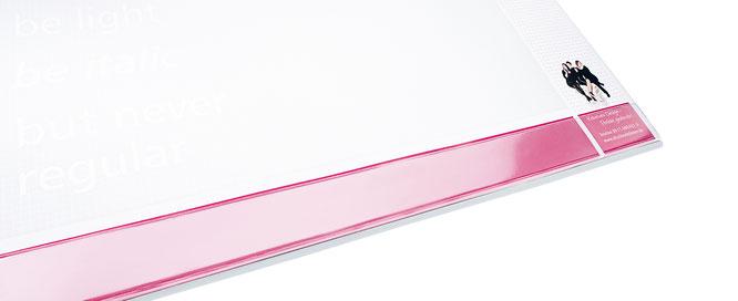 Schreibunterlagen, mit transparenter Leiste.