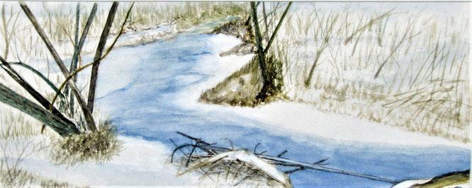 """Nr. 33 / WOLFGANG SCHERAN / """"Winter an der Lafnitz"""" Aquarell auf Papier, 63x33cm, 280,-€"""
