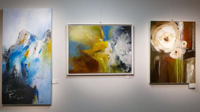 """Nr. 1, 2 und 3 / DJINA KROATH / (1) """"Icebraker"""" 60x120cm, 450,-€, (2) """"Spurensuche"""" siehe Bild oben / (3) """"Rose"""", 60x80cm, 350,-€  - alle Bilder in Acryl auf Leinwand"""
