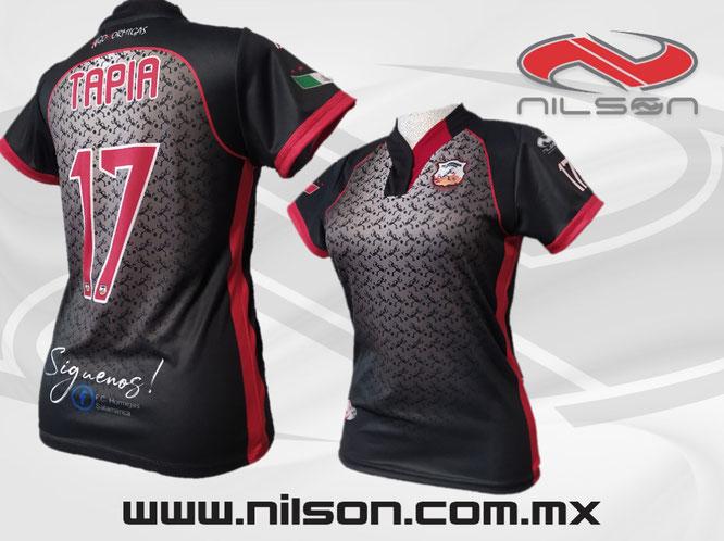 Modelo Sublimado hormigas negro/rojo local marca NILSON futbol soccer femenil #gohormigas