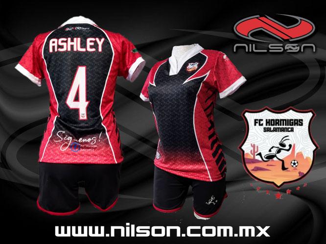 Modelo Sublimado hormigas negro/rojo  marca NILSON  futbol soccer femenil #gohormigas
