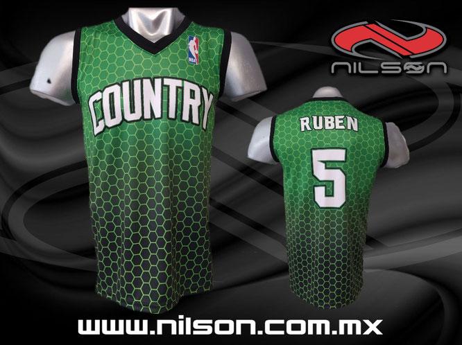 jersey country basquetbol, sublimacion digital, nilson ropa deportiva