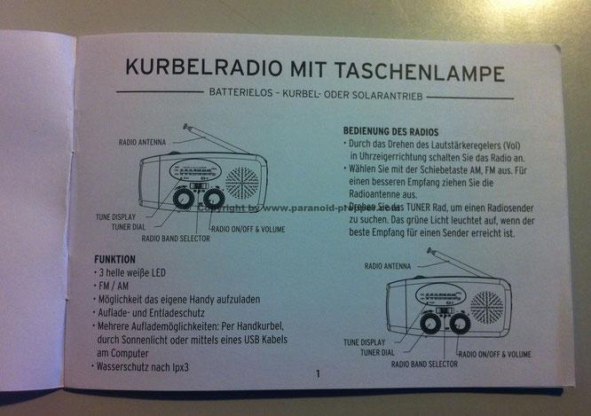 The Friendly Swede Hand crank Radio © Copyright by www.paranoid-prepper.com