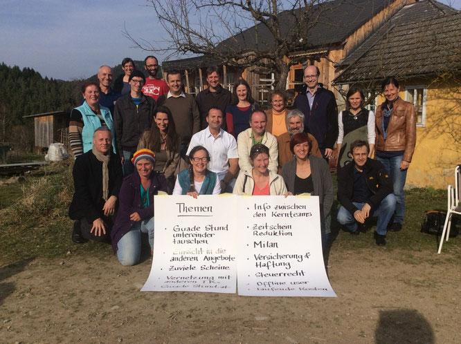"""22. März 2014: Treffen der 6 Zeitgemeinschaften im Mühlviertel, die mit der """"Guadn Stund"""" tauschen."""