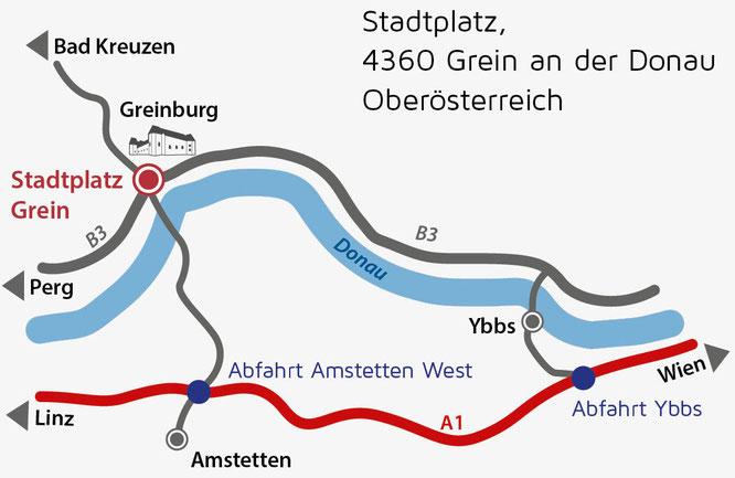 Anfahrtskizze Grein an der Donau