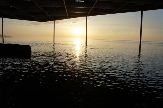 あらっ、何ということでしょう。「うみがたり大水槽」と日本海が一体化。私の心も充電200%!