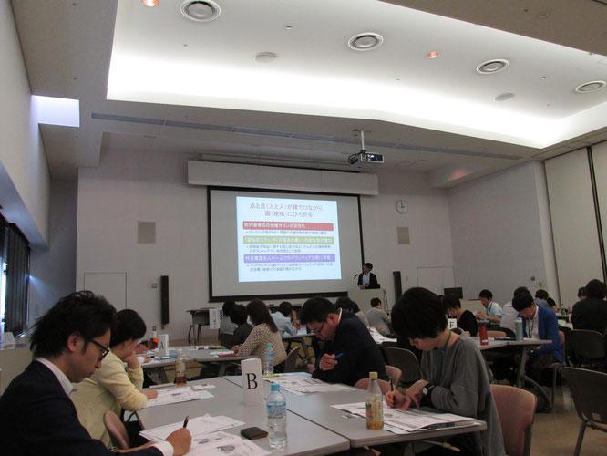 新潟ユニゾンプラザで行われた本日の研修会。だんだん広場の活動を中心に実践報告させていただきました