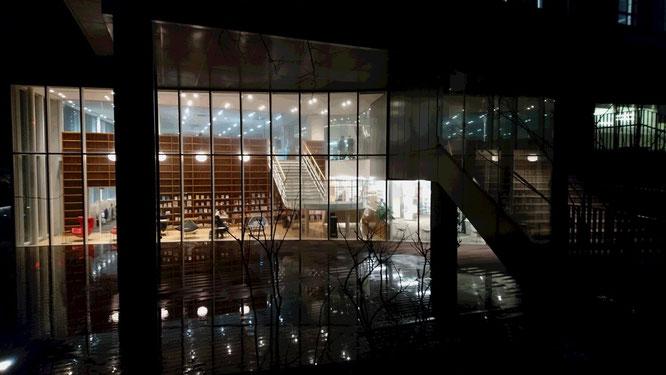 実習報告会終了後の新潟青陵大学正門前。夜7時を過ぎても、学問に勤しむ学生さんの姿がありました