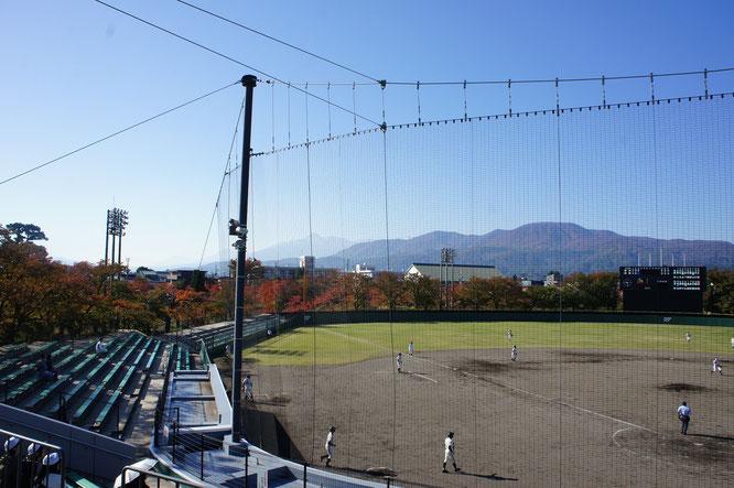 今朝の高田公園。秋深まるなか、今日も高校球児が元気にプレーしていました
