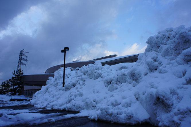 正面玄関脇には高い雪の山。こんなに積み上げられたの、開設以来はじめてかもしれません