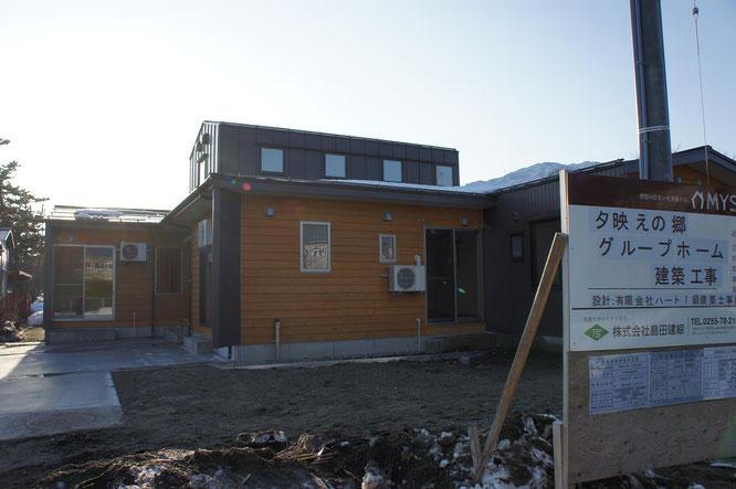 こちらは夕映えの郷・新グループホームの建築現場。完成まであとわずかとなりました