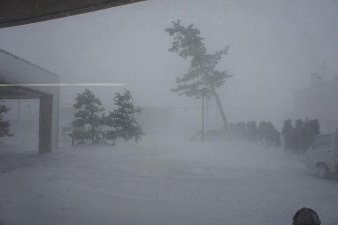 大寒波の脅威。目の前にある団地が一瞬にして、白い空気に飲み込まれました