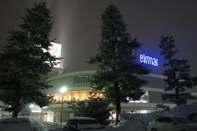今日の夕刻。吹雪の中の帰り道。エルマールの夜景に心がほっとしました