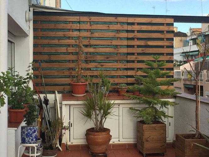Celosia de pared (forrada con malla geotextil)