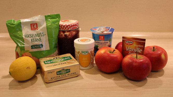 Die Zutaten für unser leckeres Bratapfel-Rezept