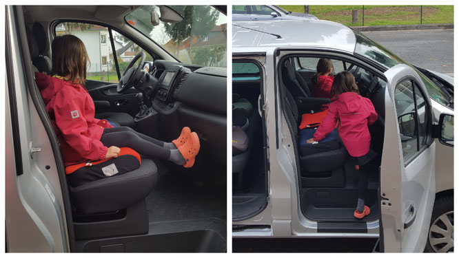 Unsere Mädels nehmen den Mietwagen ausführlich unter die Lupe