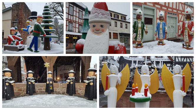 Wunderschöne Weihnachtsfiguren auf dem Weihnachtsmarkt in Michelstadt