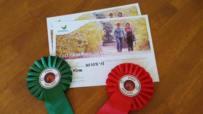 Das CenterParcs Zertifikat für die Teilnahme am Pony-Urlaub mit Rosetten