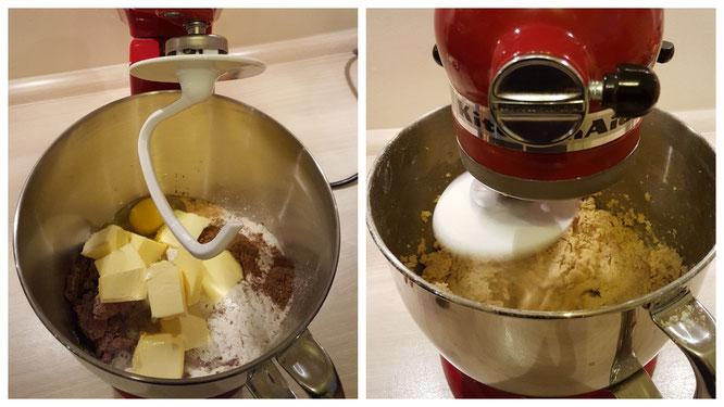 Der Teig für die Lebkuchen-Cookies wird geknetet