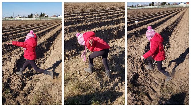 Unsere Kleine hüpft durch die Felder