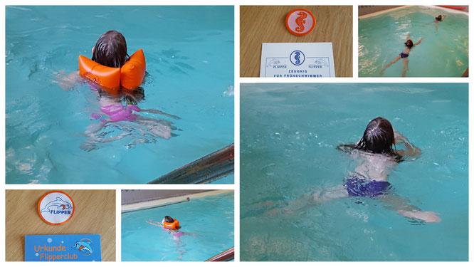Unsere Mädchen lernen Schwimmen im hoteleigenen Schwimmbad