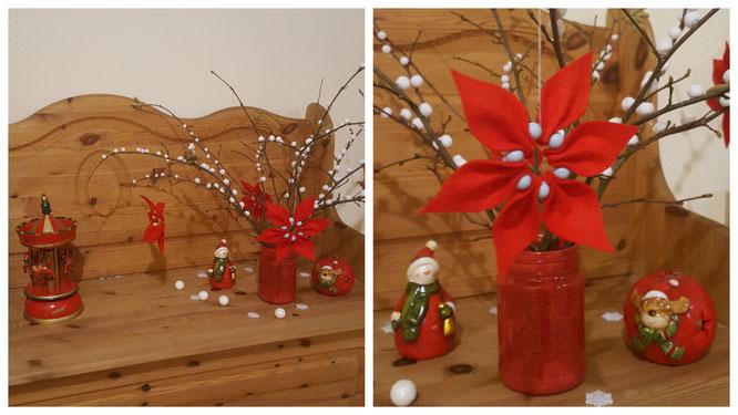 Gebastelte Weihnachtssterne für den Schneeballstrauß