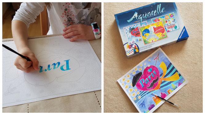 Unsere Große zeichnet Aquarelle mit Ravensburger