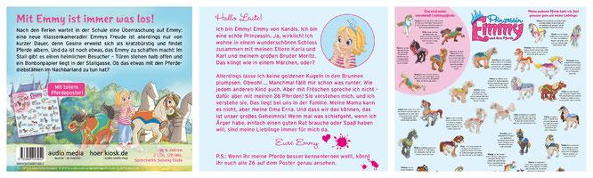 """Klappentexte und Poster der CD """"Prinzessin Emmy - Trubel im Klassenzimmer"""""""