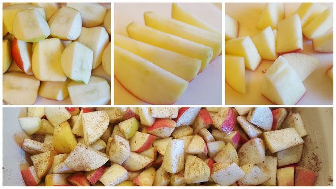 Apfelstücke fertig vorbereitet für den Apfel-Crumble