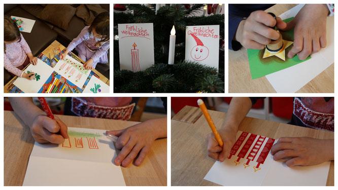 Unsere Mädels basteln Weihnachtskarten und malen Weihnachtsbilder