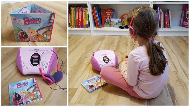 """Unsere Kleine hört das Hörbuch """"Prinzessin Emmy. Trubel im Klassenzimmer."""""""