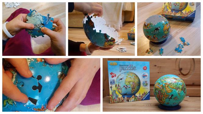 Ein 3D-Puzzle von Ravensburger - unsere Große puzzelt den Globus