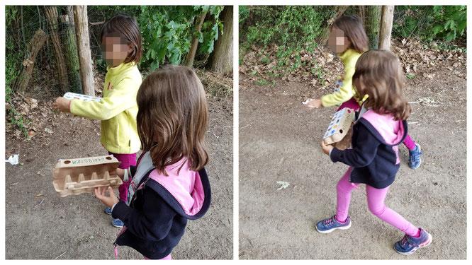Der Startschuss für unser Waldbingo - die Mädels beginnen ihre Suche