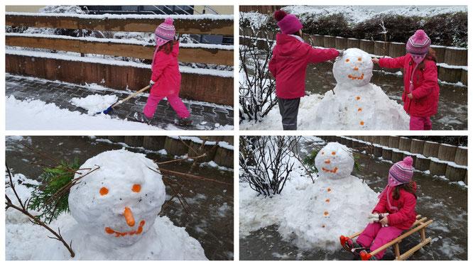 Unsere Mädels bauen einen Schneemann
