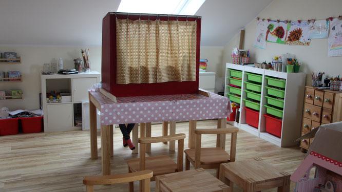 das Puppentheater ist aufgebaut