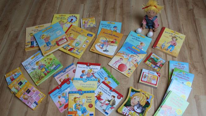 All unsere Conni-Bücher, Conni-CDs, Conni-DVDs und unsere Conni-Puppe
