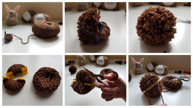 Unser Osterhase aus Pompons entsteht - Kopf und Körper