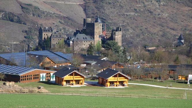 Blick auf Hof Hardthöhe mit der Schönburg im Hintergrund