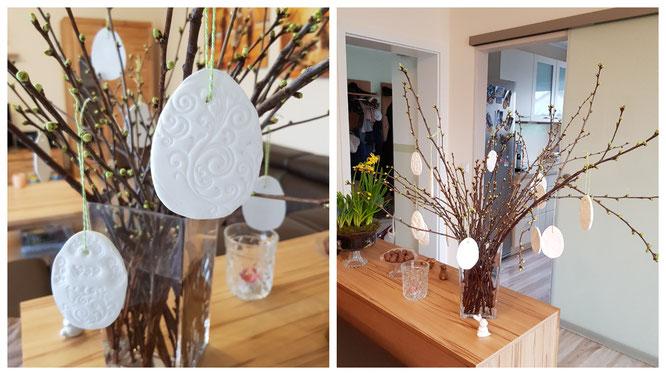 Unsere Fimo-Ostereier dekorieren unseren Osterstrauch