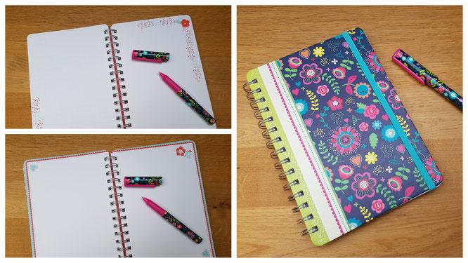 """Notizbuch und Kugelschreiber """"flowers & dots"""" aus dem Verlag moses."""