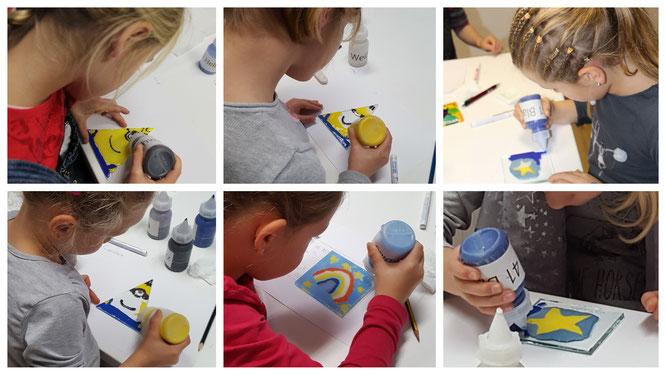 Die Mädels schaffen ihre ersten Glas-Kunstwerke