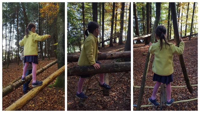 Mit Geschicklichkeit geht es für unsere Große durch den Abenteuerwald