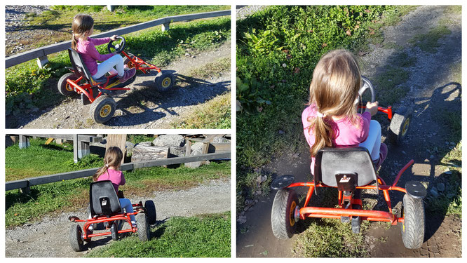 Unsere Kleine fährt Kart auf dem Spielplatz am Landhaus zur Ohe
