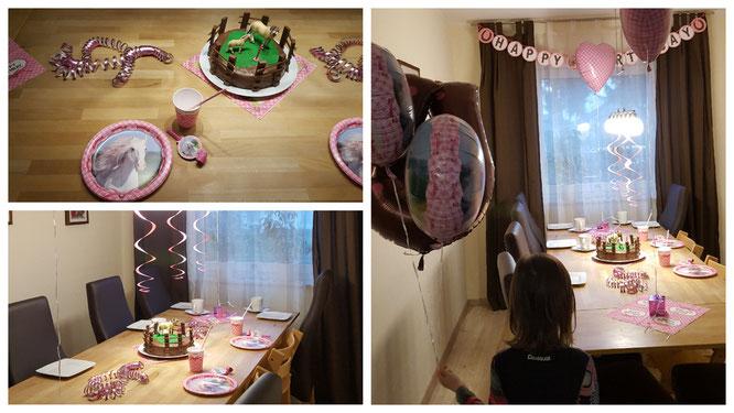 """Das Wohnzimmer ist für den Geburtstag dekoriert - das Motto """"Pferde"""""""