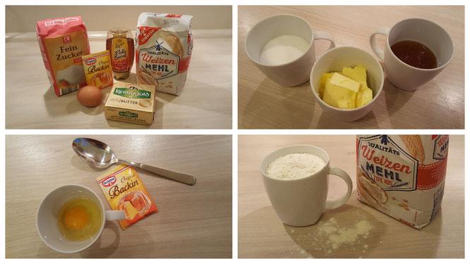 Die Zutaten für leckere Honigkekse
