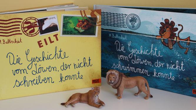"""Die beiden Bücher """"Die Geschichte vom Löwen, der nicht schreiben konnte"""" und """"Die Geschichte vom Löwen, der nicht schwimmen konnte"""""""