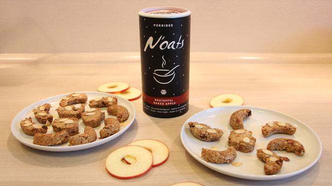 Die fertigen Apfel-Zimt-Plätzchen mit der N'oats-Sorte Bratapfel von mymuesli